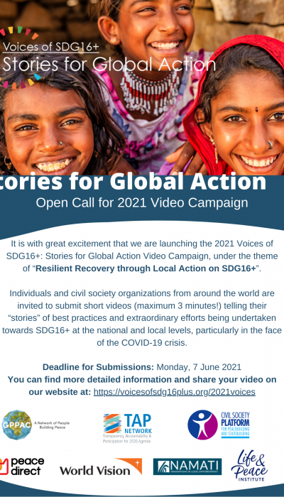 Flyer Voices of SDG16+ Open Call - 2nd version